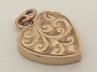Victorian 9ct Rose Gold Engraved Heart Charm Pendant