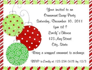 Personalized Christmas Ornament Swap Exchange Party Invitations w