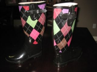 Henry Ferrera Womens Black Plaid Rubber Boots Size 6 Slightly Used