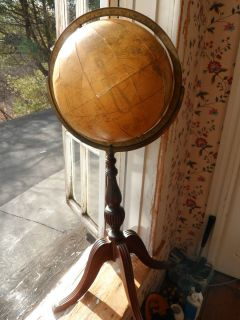 1930s Antique Replogle Library World Floor Globe Duncan Phyfe Style