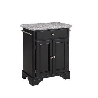 Home Styles Premium Cuisine Kitchen Cart   Black with Gray Granite Top