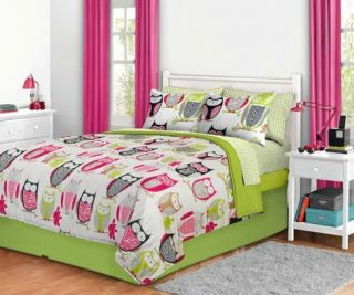 7T Pink Black Green Owl Comforter Bedding Set Size Twin XL Extra Long