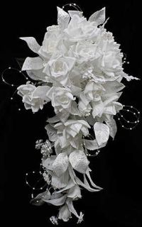 White Silk Roses Gypso Cascade Premade Bridal Bouquet