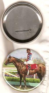 Cigar Race Horse Metal Pinback Button Jerry Bailey Up