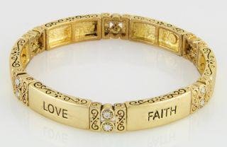 14kt Yellow Gold EP Hope Love Faith Stretch Bracelet w CZ Accents