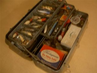 Antique FALLS CITY Tackle Box vintage Fishing Lures old reel my buddy