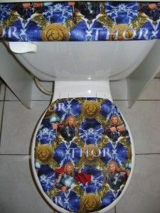 Comic Book Super Heroes Thor Fabric Toilet Seat Cover Set
