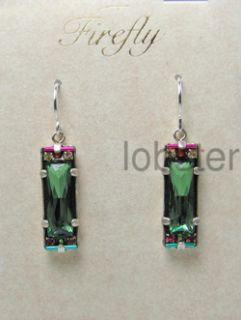 Firefly Brand Drop Dangle Silver Earrings w Erinite Green Swarovski