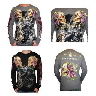 Christian Audigier Ed Hardy Mens Skull Thermal Shirt Platinum