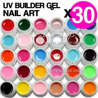 30 Pcs Pure Solid Color UV Builder Gel Set False Full French Tips Nail