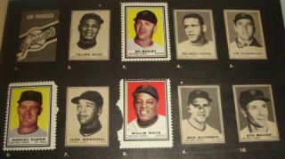 1962 Topps Baseball Stamp Album w/ 60% Stamps Mantle Clemente Koufax