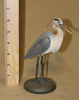 Vintage American Folk Art Frank Finney Carved Wood Crested Heron Bird