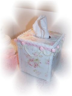 New CHIC Mary Rose Fab Pink Roses TISSUE COVER Cottage Style Bed Bath