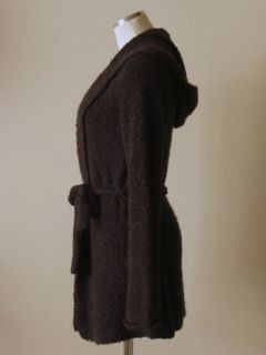 Crew Brown Stretchy Boucle Knit Long Belted Hooded Cardigan Sweater