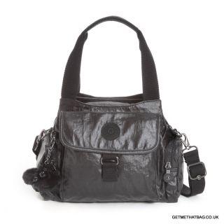 BNWT Kipling Fairfax Handbag Shoulder Bag in Lacquer Black RRP £75