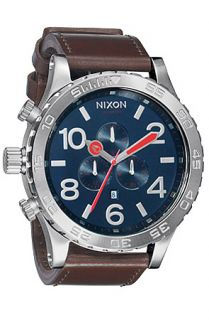 Nixon The 5130 Chrono Leather Watch in Navy Brown