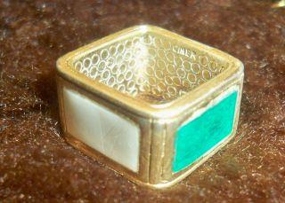 Vintage Ciner 4 Color Guilloche Enamel Square Gold Ring