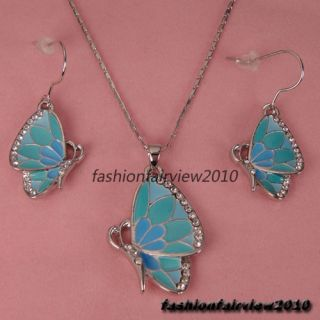 Pale Blue Butterfly Swarovski Crystal Dangle Earrings Necklace Jewelry
