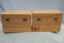 Pair of Oak Wood File Recipe Boxes for 4x6 Cards with Alpha Index