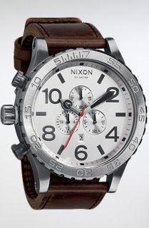 Nixon The 5130 Chrono Leather Watch in Silver Brown