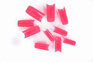 500pcs Acrylic UV Gel French False Nail Art Tips Hot Pink H8