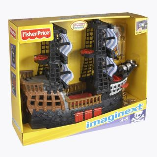 FISHER PRICE IMAGINEXT HUGE PIRATE SHIP PLAYSET TOY 2 FIGURES CANNONS