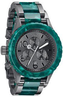 Nixon The 4220 Chrono Watch in Gunmetal and Emerald