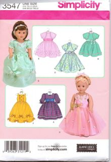 American Girl Doll Clothes Pattern by Simplicity Uncut Fancy Dresses