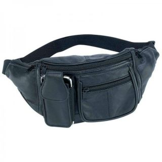 New Embassy Black Lambskin Leather Fanny Pack Waist 6 Pockets Travel