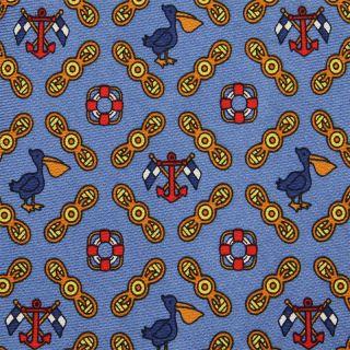 ETRO TIE Pelican & Life Preserver on Light Blue Silk Necktie