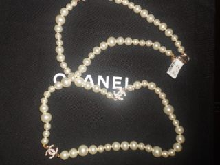 CHANEL Long Faux Pearl Crystal Three CC Logo Charms 36 Necklace