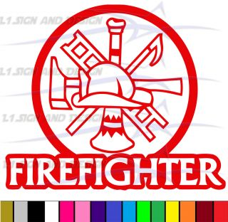 Firefighter Fire Department Sticker Decal Any Color Rescue Car Truck