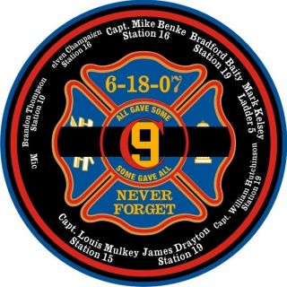 Firefighter Stickers CFD9 SGA Circle Decal 2x2