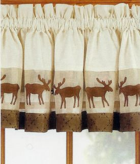 Moose Window Valance Log Cabin Rustic Lodge Curtain