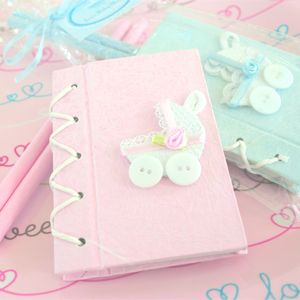 50 Pink or Blue Carriage Notebook Baby Shower Favors