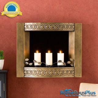 Antique Gold Wall Mount Fireplace Gel Fuel Indoor Outdoor Patio