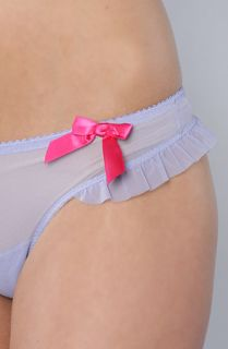 Betsey Johnson The Stretch Mesh Ruffle Thong W Bow in Song Sung Blue