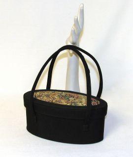 Vtg 50s Black Tapestry Hand Bag Ben Bag Needlepoint Petit Point