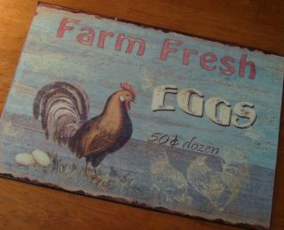 Primitive FRESH EGGS Farm Rooster Chicken Vintage Kitchen Decor NEW