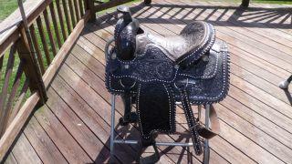 Saddle Western Black 16 inch Seat Buffalo Custom Made