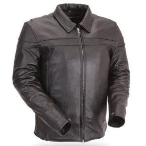 First Manufacturing Mens Black Collared Leather Motorcycle Shirt