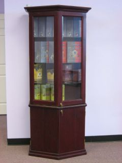 6 5 Foot Tall Cherry Wood Display Case with Lock