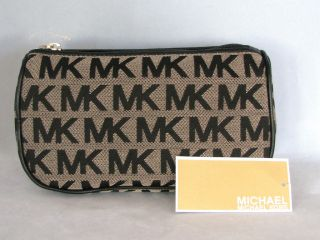 Michael Kors Beige Black Jacquard Item Make Up Bag New