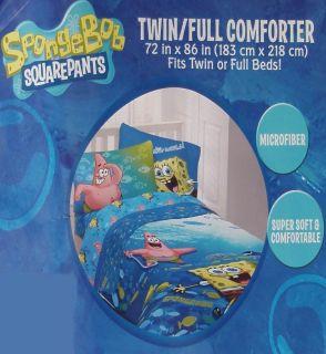Spongebob Fish School Blue 4pc Twin Comforter Sheets Bedding Set New