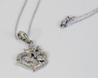 Sydney Evan Large 14k White Gold and Diamond OM Pendant on 14k Gold