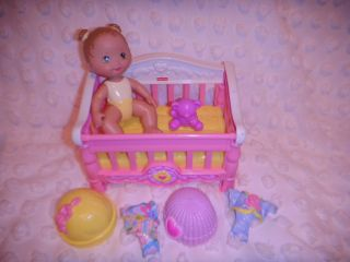 Fisher Price Snap N Style Doll BABY in CRIB w Teddy Bear Hats Clothes