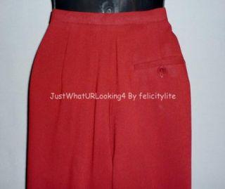 Jones New York Womens Red Wool Lined Dress Pants Slacks Classic Fit
