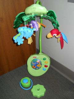 Fisher Price Rainforest Musical Mobile for Baby Crib EUC with Remote