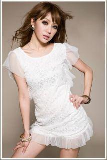 flappers black ruffles sleeve lace mesh dress