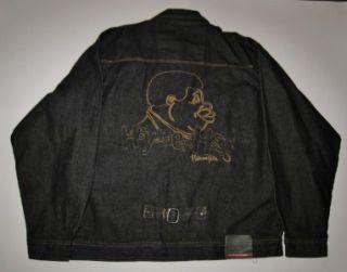 Mens Platinum FUBU Black Denim Jeans Jacket XL Fat Albert Hey Hey Hey